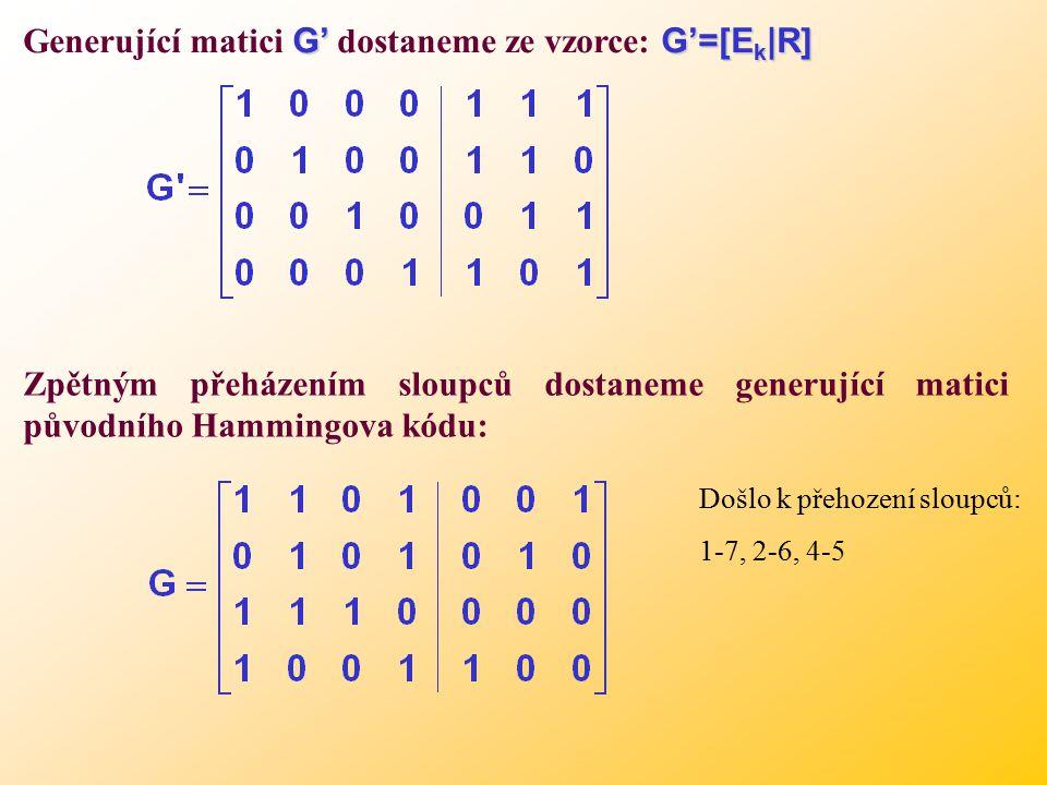 Generující matici G' dostaneme ze vzorce: G'=[Ek|R]